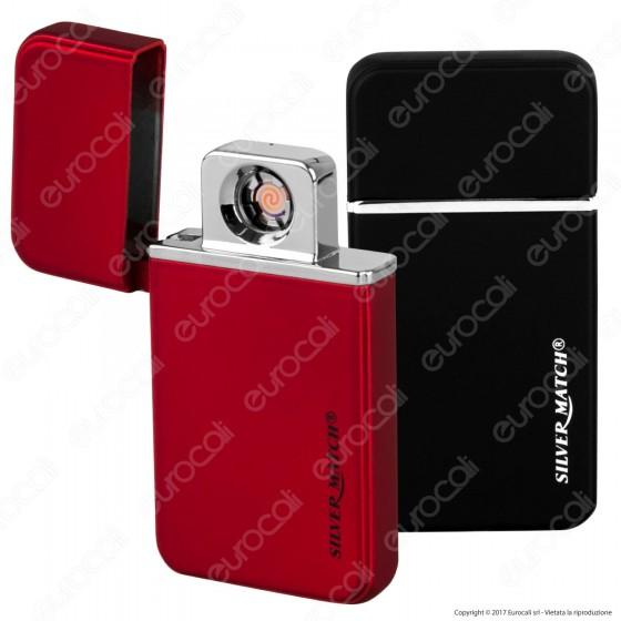 Silver Match Accendino USB in Metallo Antivento Ricaricabile Soft Touch - 1 Accendino