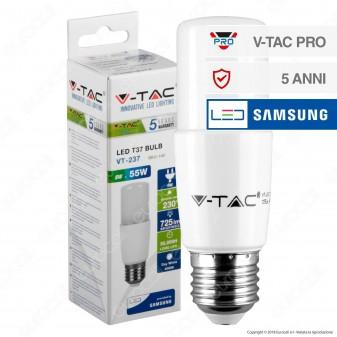 V-Tac PRO VT-237 Lampadina LED E27 8W Tubolare T37 Chip Samsung - SKU 145