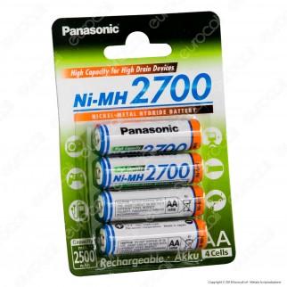 Panasonic Ni-MH 2700 2500mAh Pile Ricaricabili Stilo AA - Blister 4 Batterie
