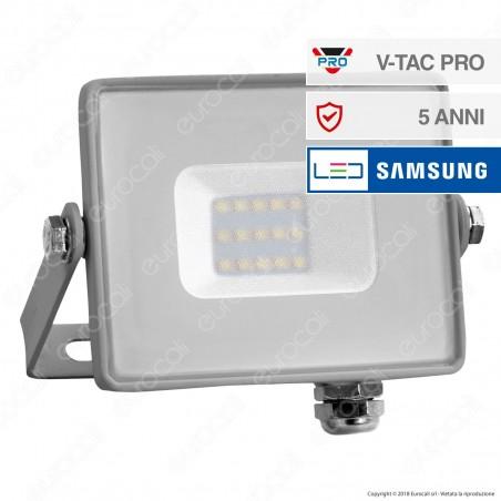 V-Tac PRO VT-10 Faro LED SMD 10W Ultrasottile Chip Samsung da Esterno Colore Grigio - SKU 430 / 431 / 432