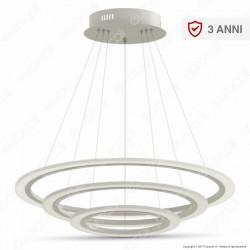 V-TAC VT-70-3D Lampadario LED Anello Triplo 70W Sospensione in Metallo Bianco Dimmerabile - SKU 3904