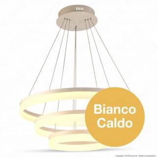 V-TAC VT-80-3D Lampadario LED Anello Triplo 80W Sospensione in Metallo Bianco 3 Step Dimmerabile - SKU 3906