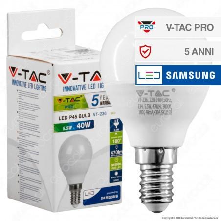 V-Tac PRO VT-236 Lampadina LED E14 5,5W MiniGlobo P45 Chip Samsung - SKU 168 / 169 / 170