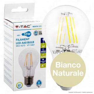 V-Tac VT-1887 Lampadina LED E27 6W Bulb A60 Filamento - SKU 4332 / 4303