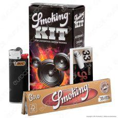 Kit Smoking 33 Cartine Lunghe Oro + 33 Filtri in carta + 1 Accendino