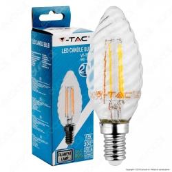 V-Tac VT-1985 Lampadina LED E14 4W Candela Twist Filamento - SKU 4307