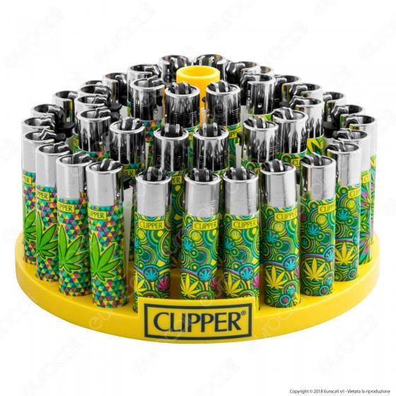 Clipper Large Fantasia Green Leaves 1 - Box da 48 Accendini