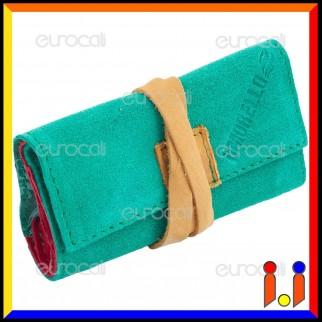 Il Morello Pocket Mini Portatabacco in Vera Pelle Jamaica Verde Rosso e Giallo