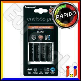 Panasonic Eneloop PRO Caricabatterie Rapido BQ CC16 + 4 Pile Stilo AA 2450 mAh