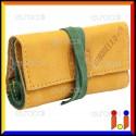 Il Morello Pocket Mini Portatabacco in Vera Pelle Colore Giallo e Verde Scuro