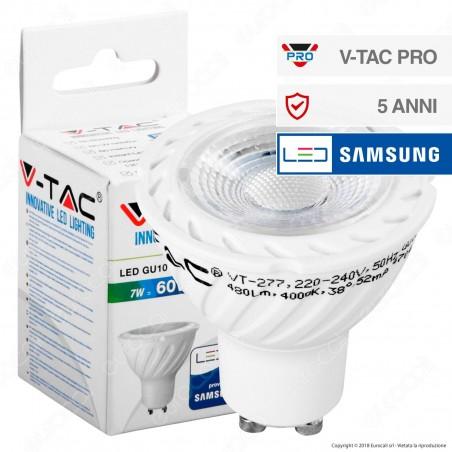V-Tac PRO VT-277 Lampadina LED GU10 7W Faretto Spotlight Chip Samsung 38° - SKU 165 / 166 / 167
