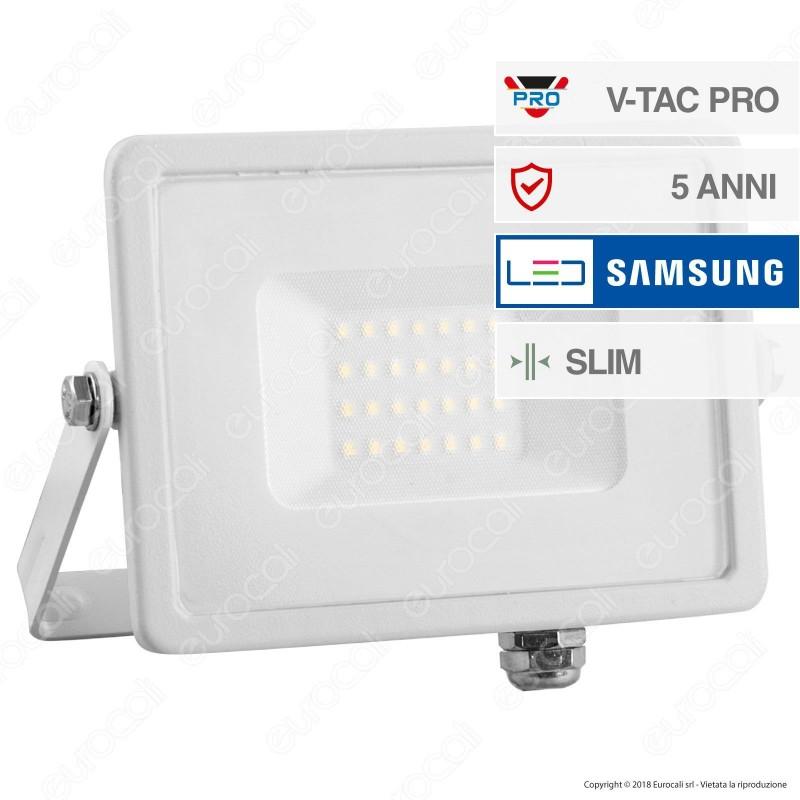 V-Tac PRO VT-20 Faro LED SMD 20W Ultrasottile Chip Samsung da Esterno Colore Bianco - SKU 443 / 444
