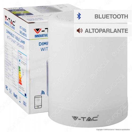 V-Tac VT-1043 Lampada da Tavolo LED 3W Touch Dimmerabile Smart con Speaker - SKU 8516