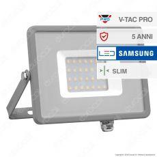 V-Tac PRO VT-30 Faro LED SMD 30W Ultrasottile Chip Samsung da Esterno Colore Grigio - SKU 455