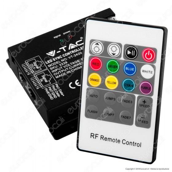 V-Tac VT-2420 Controller Dimmer Sync Connesione RJ45 per Strisce LED RGB con Telecomando 3x 8A - SKU 3339