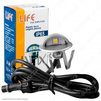 Life Punto Luce LED 0,4W Segna Passo da Interramento in Zinco