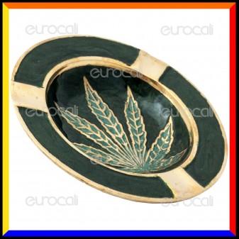 Black Leaf Posacenere da Tavolo Rotondo in Metallo