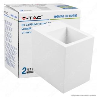 V-Tac VT 858SQ Portafaretto Quadrato a Montaggio Superficiale in Gesso per Lampadine G9 - SKU 3695