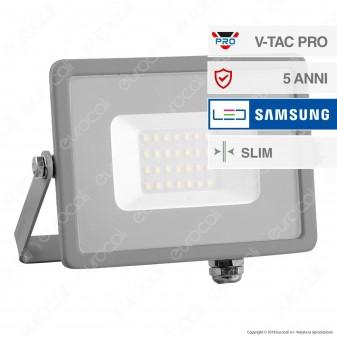 V-Tac PRO VT-20 Faro LED SMD 20W Ultrasottile Chip Samsung da Esterno Colore Grigio - SKU 447