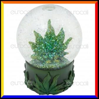 Black Leaf Snow Globe - Sfera di Vetro con Brillantini