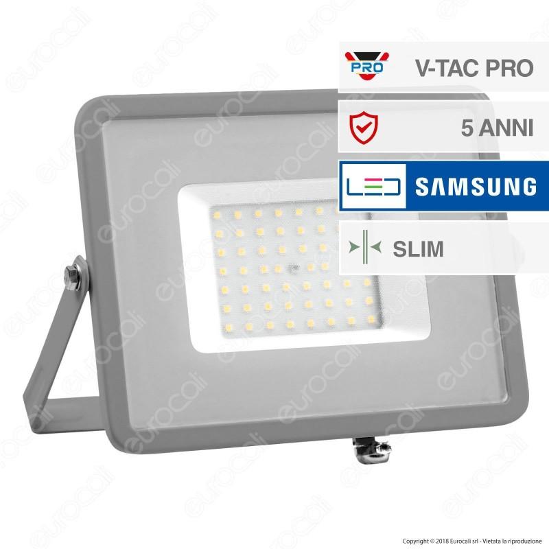 V-Tac PRO VT-50 Faro LED SMD 50W Ultrasottile Chip Samsung da Esterno Colore Grigio - SKU 9071