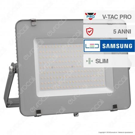 V-Tac PRO VT-200 Faro LED SMD 200W Ultrasottile Chip Samsung da Esterno Colore Grigio - SKU 484 / 485