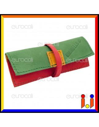 Il Morello Portacartine in Vera Pelle Jamaica Verde Rosso e Giallo Fatto a Mano
