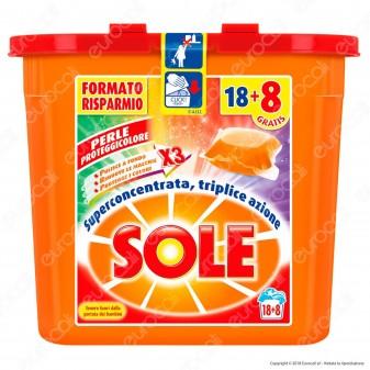 Sole Perle Proteggicolore GelCaps Color Detersivo Superconcentrato per Lavatrice - 494ml (26 perle)