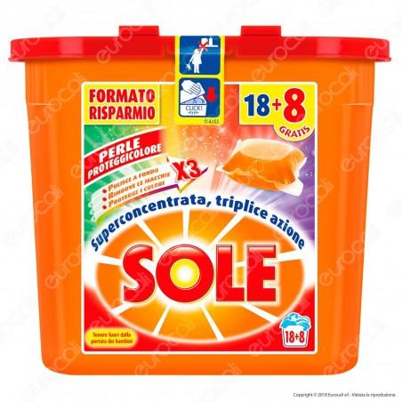 Sole Perle Proteggicolore GelCaps Color Detersivo Superconcentrato per Lavatrice - Contenitore da 494ml