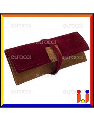 Il Morello Portacartine in Vera Pelle Colore Bordeaux e Marrone Chiaro Fatto a Mano