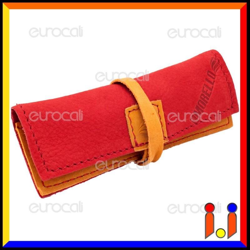 Il Morello Portacartine in Vera Pelle Colore Rosso e Giallo Fatto a Mano