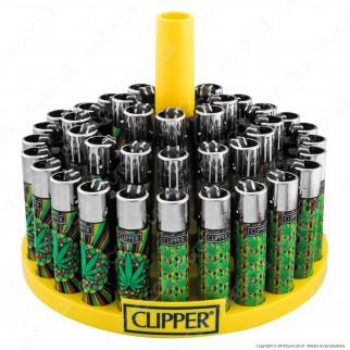 Clipper Large Fantasia Green Leaves 3 - Box da 48 Accendini