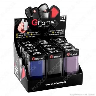 E-Flame Accendino USB Antivento Ricaicabile - Box da 15 Accendini (Blu - Grigio - Nero)