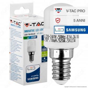 V-Tac PRO VT-202 Lampadina LED E14 2W Tubolare T26 Chip Samsung - SKU 234 / 235