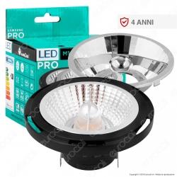 Marino Cristal Serie PRO Lampadina LED G53 16W Faretto Spotlight Nero AR111 - mod
