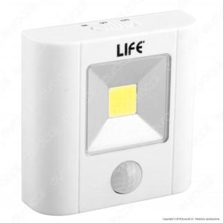 Life Lampada LED Quadrata da Parete Alimentata a Batterie con Sensore di Movimento