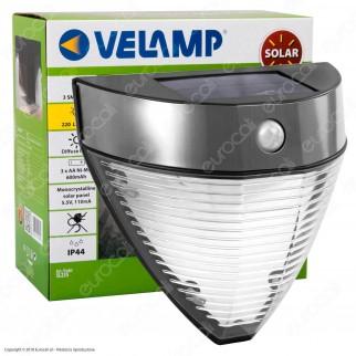 Velamp Armour Lampada LED da Muro 2,2W con Pannello Solare e Sensore di Movimento