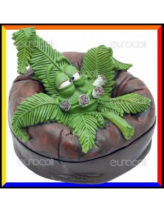CannaBuds Posacenere da Tavolo in Poliresina con Coperchio Antiodore - Beanbag Leaf