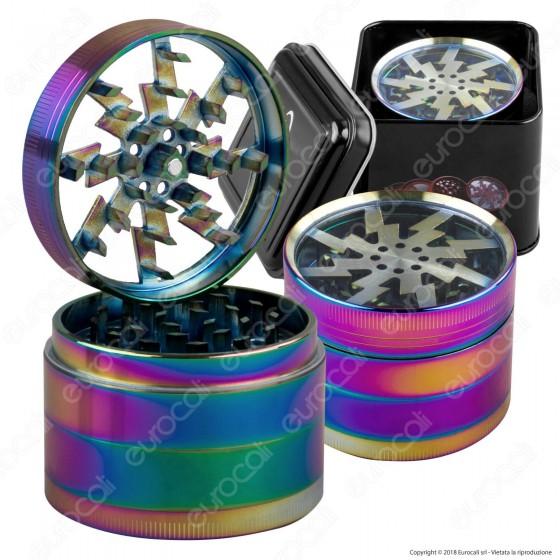 Grinder Tritatabacco Atomic 4 Parti Ø 61mm - Coperchio Trasparente