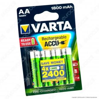 Varta Rechargeable Accu 1600mAh Pile Ricaricabili Stilo AA - Blister 4 Batterie