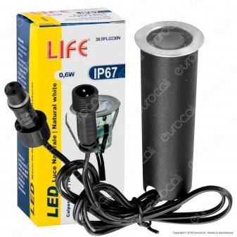 Life Punto Luce LED 0,6W Segna Passo da Interramento in Zinco IP67