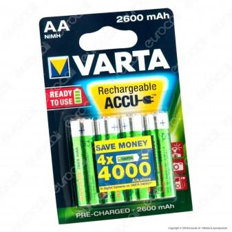 Varta Rechargeable Accu 2600mAh Pile Ricaricabili Stilo AA - Blister 4 Batterie