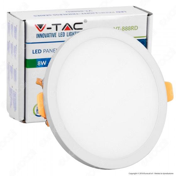 V-Tac VT-888 RD Pannello LED Rotondo 8W SMD da Incasso con Driver - SKU 4931 / 4932