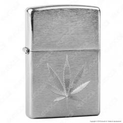 Accendino Zippo Mod. 29587 Chrome Marijuana Leaf - Ricaricabile Antivento