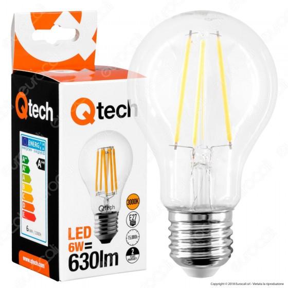 Qtech Lampadina LED E27 6W Bulb A60 Filamento