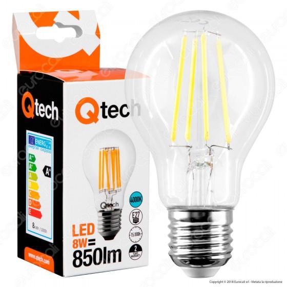 Qtech Lampadina LED E27 8W Bulb A60 Filamento