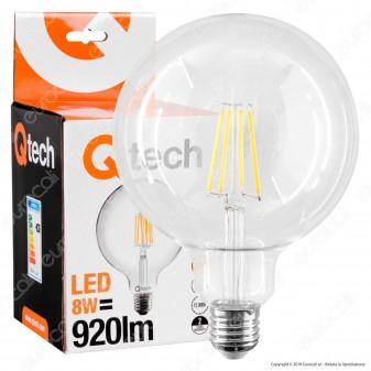 Qtech Lampadina LED E27 8W Globo G125 Filamento
