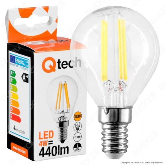 Qtech Lampadina LED E14 4W MiniGlobo P45 Filamento