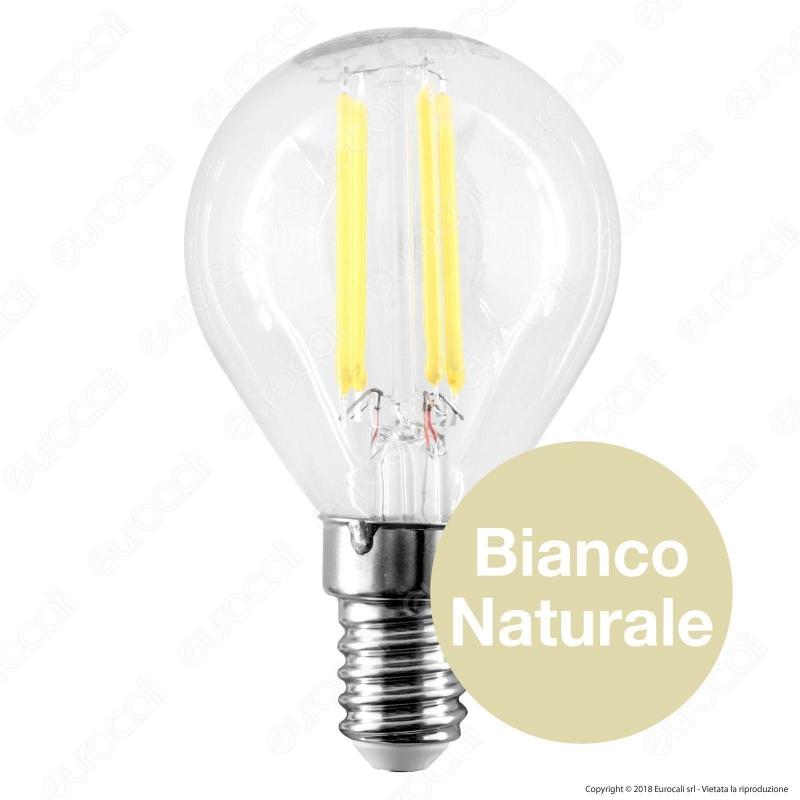 Lampadina led e14 4w miniglobo qtech p45 filamento for Lampadine a led e14