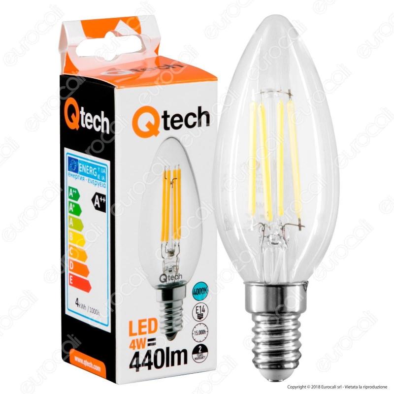 Acquista Qtech Lampadina Led E14 4w Candela Filamento